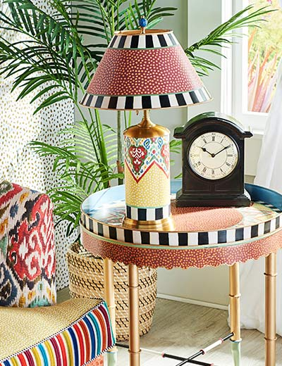 FREE SHIPPING MACKENZIE-CHILDS NEW FURNITURE & ACCENTS at Evine - 478-552 MacKenzie-Childs Boheme 40 Chair w Decorative Pillow, 478-549 MacKenzie-Childs Boheme 25 Hand-Painted Table Lamp
