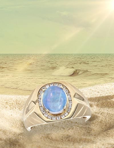 UP TO 40% OFF HANDSOME TREASURES SAVE ON MEN'S JEWELRY at Evine - 151-523 Fierra™ Men's 14K Gold 2.24ctw Australian Opal & Diamond Ring