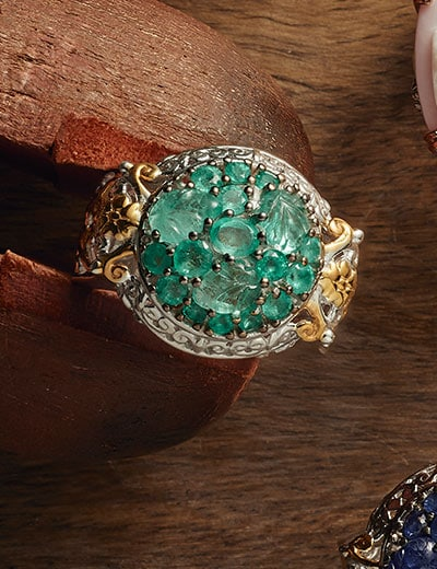 BRIGHTEN YOUR DAY at Evine - 172-311 Gems en Vogue Choice of Gemstone Carved Leaf & Multi Shape Cluster Dome Ring