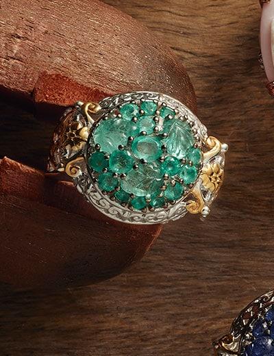 BRIGHTEN YOUR DAY at Evine - 172-311 Gems en Vogue Choice of Gemstone Carved Leaf & Multi Shape Cluster Dome Ring