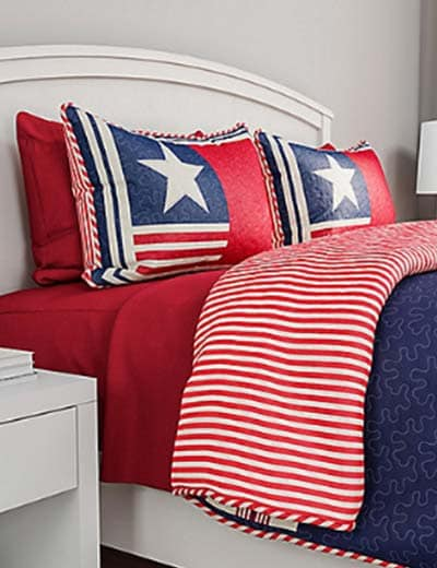 MEMORIAL DAY BEDDING SALE JUMP ON THESE DEALS at Evine - 483-620 Lavish Home Glory Bound Americana Flag Print 2-Piece Quilt Set