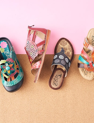 UP TO 60% OFF QUIRKY SHOES & BAGS at Evine - 736-054 Corkys Elite Bruce Leather Buckle Detailed Gladiator-Style Sandals, 736-039 Corkys Elite Curacao Hand-Painted Leather Back Zip Sandals, 736-040 Corkys Elite Dominican Hand-Painted Leather Thong Sandals, 736-055 Corkys Elite Crump Hand-Painted Leather Wedge Sandals