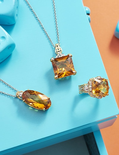 UP TO 50% OFF BACK FROM VEGAS ENCORE at Evine - 183-472 Gems en Vogue Bolivian Fire Citrine & White Zircon Pendant w 18 Chain, 183-464 Gems en Vogue 10.75ctw Bolivian Fire Citrine Cocktail Ring