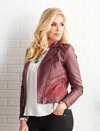 5 STAR FINDS FASHION SALE & CLEARANCE at Evine - 738-819 Kate & Mallory® Faux Leather & Faux Suede Paneled Hardware Detailed Moto Jacket