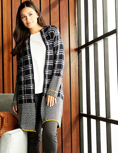 CASUAL FASHION at Evine - 739-547 Gramercy 22™ Sweater Knit Cuffed Long Sleeve Open Front Midi Cardigan