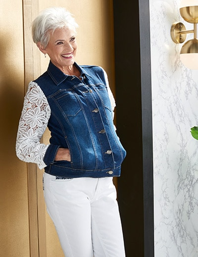 LACE DETAILS at Evine - 736-972 OSO Casuals® Denim 4-Pocket Crochet Lace Sleeve Button Front Jacket