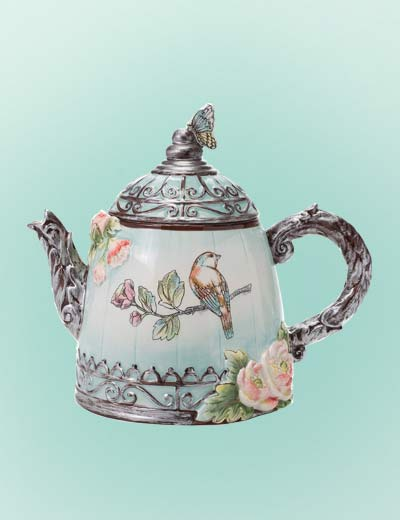 FITZ & FLOYD NEW EASTER FINDS at Evine - 483-115 FITZ AND FLOYD English Garden 60 oz Hand-Painted Earthenware Teapot w Lid
