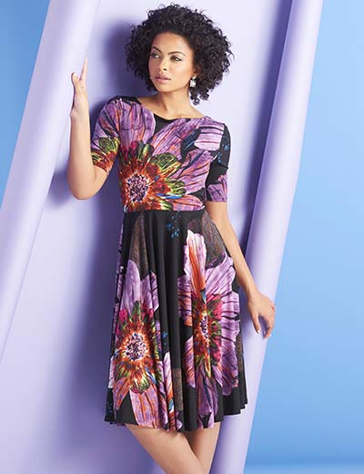 UP TO 50% OFF TOP SELLING DRESSES DRESS WITH THE BEST at Evine - 727-012 Marc Bouwer Floral Printed Knit Elbow Sleeve Boat Neck Fit & Flare Dress