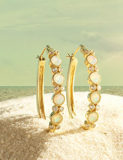 UP TO 45% OFF GEM INSIDER® HERE'S THE STUNNING SCOOP at Evine - 180-886 Gem Insider® 1.25 Choice of Opal & White Zircon Hoop Earrings