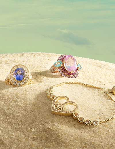 HOLLYWOOD GLAM SHOP VICTORIA, DALLAS & NANCY at Evine - 174-267 Peace & Love Legacy Gold-tone White Topaz & Gem Charm Adjustable Charity Bracelet 178-957 Dallas Prince 14K Gold 4.04ctw AAA Tanzanite & White Zircon Halo Ring 177-496 Victoria Wieck Collection 11.93ctw Kunzite & Multi Gemstone Cocktail Ring