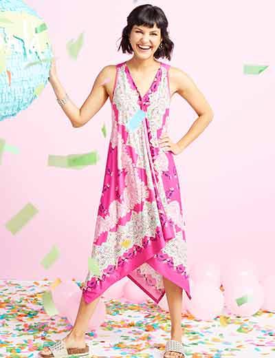 NEW DRESSES & TOPS at Evine - 736-802 One World Printed Knit Sleeveless Handkerchief Hem V-Neck Scarf Dress