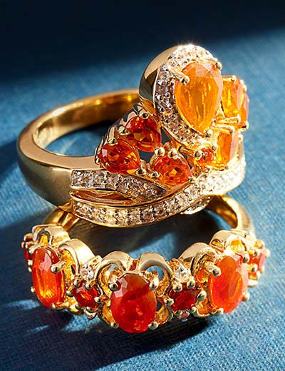 CLEARANCE JEWELRY COME GET YOUR GLITZ at Evine - 176-321 NYC II® 1.24ctw Fire Opal & White Zircon Crown Ring