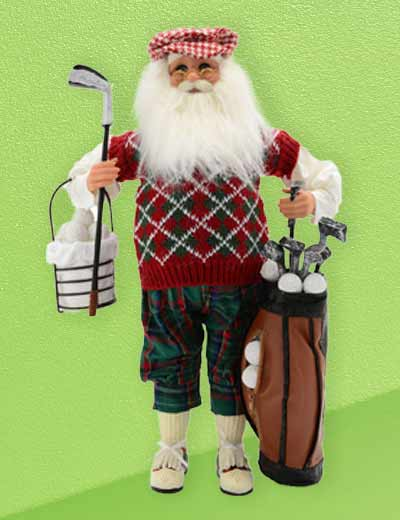 KAREN DIDION ORIGINALS NEW HOLIDAY COLLECTIBLES at Evine - 477-653 Karen Didion Originals 17 Handmade Golf Santa with Basket