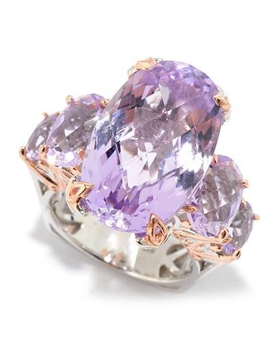 MASTERPIECE GEMSTONES at Evine -  174-835 Gems en Vogue 16.20ctw Maraba Pink Amethyst 5-Stone Masterpiece Ring
