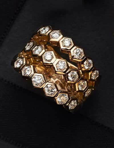 GOING, GOING, GONE LAST CHANCE SELLOUTS at Evine - 180-199 Sonia Bitton Galerie de Bijoux® 14K Gold 2.00ctw 3-Row Honeycomb Diamond Flex Ring