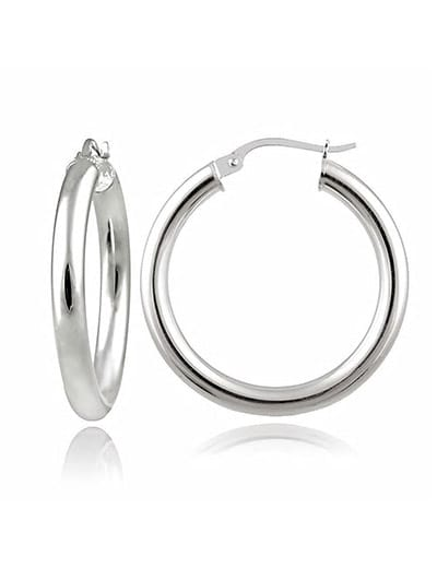 STARTING UNDER $15 ITALIAN SILVER JEWELRY at Evine - 176-022 Italian Sterling Silver 1.25 High Polished Hoop Earrings