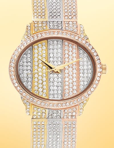 Top Rated Timepieces - 669-852 St. Lucia Women's Quartz Tri-Color Crystal Accented Bracelet Watch