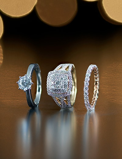 CLOSEOUT JEWELRY AND FASHION at Evine - 176-646 éthique 14K White Gold 1.00ctw Lab Grown Diamond Engagement Ring, 176-461 éthique 14K Gold 1.03ctw Lab Grown Diamond Cushion Shaped Double Halo Ring, 176-455 éthique 14K Gold 0.94ctw Lab Grown Diamond Eternity Band Ring