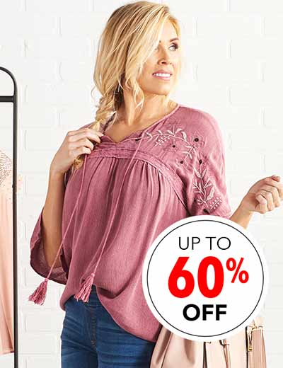 SURPRISE FASHION SALE UP TO 60% OFF GO WITH THE FLOW at Evine - 738-286 OSO Casuals® Woven & Lace Keyhole Tie-Neck Contrast Stitched Peasant Top