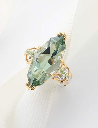 UP TO 40% OFF 5 STAR JEWELRY TOP RATED TREASURES at Evine - 169-529  Gems en Vogue 13.13ctw Brazilian Marquise Shaped Prasiolite & Peridot Limited Edition Ring