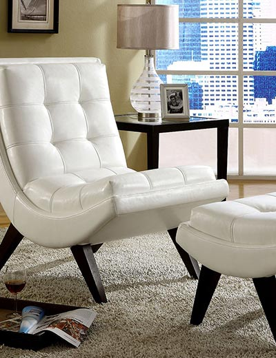 RAVE REVIEWS TOP PICKS OUR FANS ADORE at Evine - 419-042 White Faux Leather Chair & Ottoman