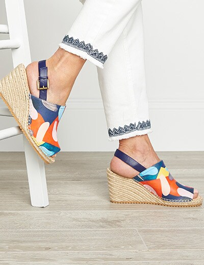 ONLY THE BEST at Evine - 737-098 Anuschka Maya Printed Leather Memory Foam Wedge Sandals - Final Sale