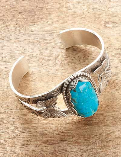 MUST-HAVE Turquoise jewelry at Evine - 179-816 Sunwest Silver Museum 6.5 32 x 16mm Oval Kingman Turquoise Butterfly Bracelet