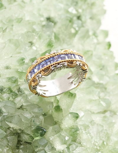 UP TO 55% OFF TANZANITE & KUNZITE at Evine - 181-041 Gems en Vogue Step Cut Tanzanite 9-Stone Semi Eternity Band Ring