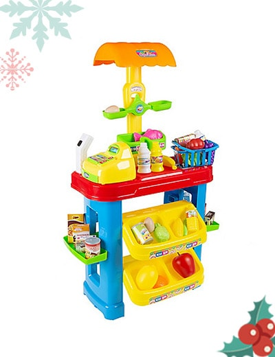 Toys! 484-378 Hey! Play! Grocery Store Playset w Register, Scanner & Assorted Play Foods