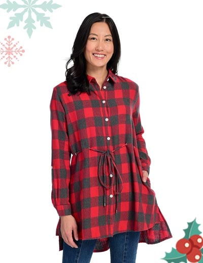 Mad About Plaid - UP TO 65% OFF -  744-464 OSO Casuals® Woven 100% Cotton Pointed Collar Tie-Waist Button- up Hi-Lo Tunic