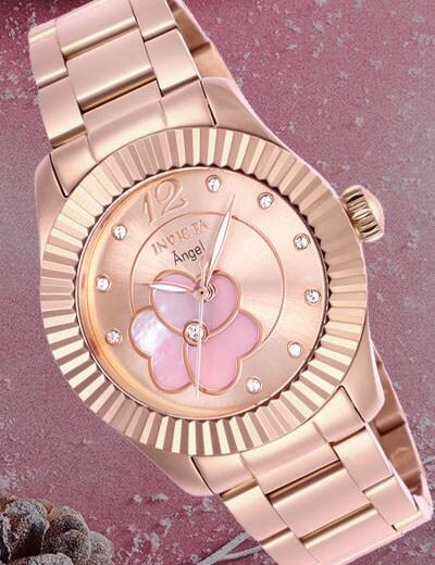 SURPRISE SAMPLE SALE DEALS, DEALS, DEALS! at Evine - 666-032 As Is Invicta Women's Angel Quartz Crystal Accented Stainless Steel Bracelet Watch