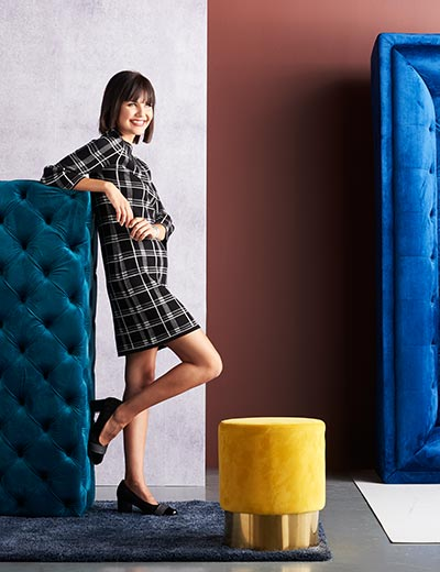 FASHION MUST-HAVES at Evine - 739-545 Gramercy 22™ Sweater Knit 34 Bell Sleeve Pleated Detailed Plaid Shift Dress
