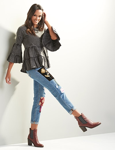 TOP SELLING FASHION at Evine - 739-397 Indigo Thread Co.™ Knit Acid Washed 34 Bell Sleeve Crochet Trimmed Tiered Top, 739-415 Indigo Thread Co.™ Denim 5-Pocket Distressed Patchwork Jeans