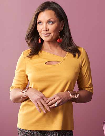DESIGNER APPAREL BIG DEALS ON BIG NAMES at Evine - 737-233 V. by Vanessa Williams Ponte Knit Short Sleeve Keyhole Cut-out Top