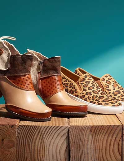 CUSTOMER FAVORITES at Evine - 739-078 Corkys Elite 'Rags' 2-inch Leather Faux Fur Lined Tie Detailed Ankle Boots, 739-073 Corkys Boutique 'Jungle' Printed Memory Foam Shoes