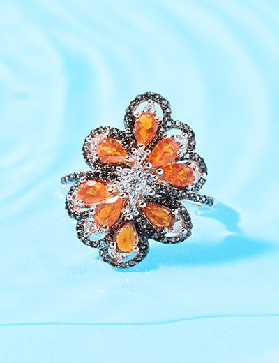 UP TO XX% OFF OPAL JEWELRY - 179-380 Victoria Wieck Collection 2.00ctw Fire Opal, Smoky Quartz & White Zircon Ring
