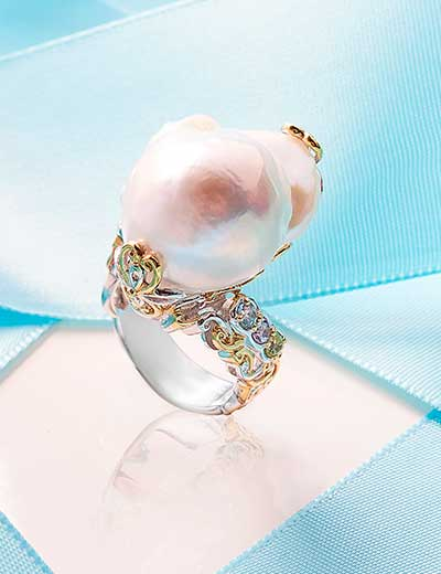 CLEARANCE RINGS ALL-AROUND FABULOUS - 171-981 Gems en Vogue 22 x 11mm Baroque Freshwater Cultured Pearl & Multi Gem Ring