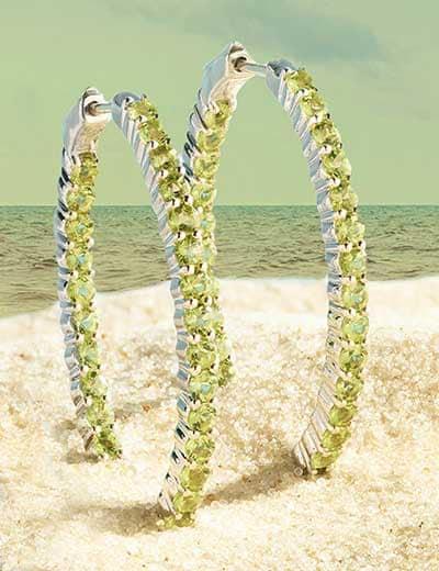 GEM TREASURES® SNAG SOME EAST COAST FLAIR at Evine - 179-582 Gem Treasures® Sterling Silver 1.75 Gemstone Inside-out Oval Hoop Earrings