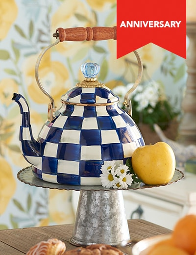 FREE SHIPPING MACKENZIE-CHILDS at Evine - 467-989 MacKenzie-Childs Hand-Decorated Enamelware Tea Kettle