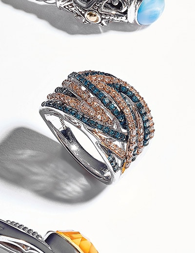 UP TO 60% OFF RINGS at Evine - 165-035 Diamond Treasures® Sterling Silver 0.99ctw Fancy Color & Champagne Diamond Highway Ring