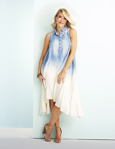STARTING AT $24.99 STYLES OF SUMMER at Evine - 731-879 OSO Casuals® Tencel Dip-Dye Sleeveless Hi-Lo Collared Shirt Dress