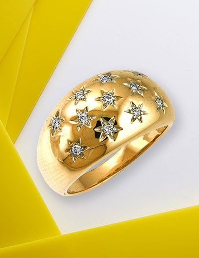 BE BOLD IN GOLD MONTH DIAMONDS in GOLD at Evine - 151-660 Sonia Bitton Galerie de Bijoux® 14K Gold 0.24ctw Diamond Star Ring