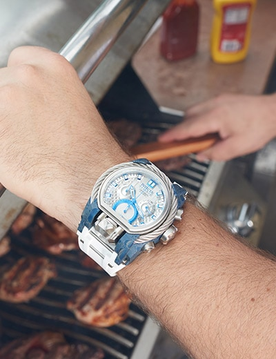 RED, WHITE & BLUE at Evine - 654-129 Invicta Reserve Men's 52mm Bolt Zeus Magnum Cable Hydroplated Swiss Quartz Dual Movement Strap Watch