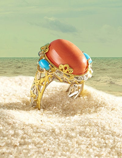 UP TO 40% OFF TURQUOISE & CORAL at Evine - 180-773 Gems en Vogue 18 x 13mm Salmon Bamboo Coral & Sleeping Beauty Turquoise Ring