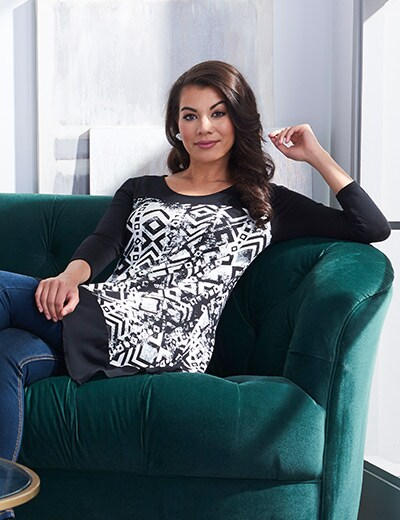 UNDER $20 FASHION STEALS at Evine - 729-889 Kate & Mallory® Knit & Woven 34 Sleeve Sharkbite Hem Printed Top