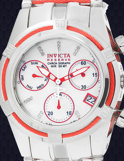 UP TO 75% OFF UNIQUE DIALS at Evine - 658-556 Invicta Reserve 42mm Bolt Zeus Swiss Quartz Chronograph Diamond Accented Mother-of-Pearl Dial Watch