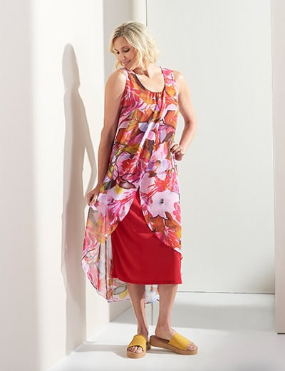 SUMMER FLORALS at Evine - 740-948 Kate & Mallory® Printed Chiffon Sleeveless Knit Lined Uneven Hem Maxi Dress