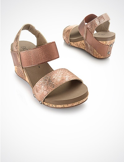 SANDALS & FLATS COME ON, GET STRAPPY at Evine - 741-785 Corkys Boutique Bandit Elastic 3-Strap Wedge Sandals