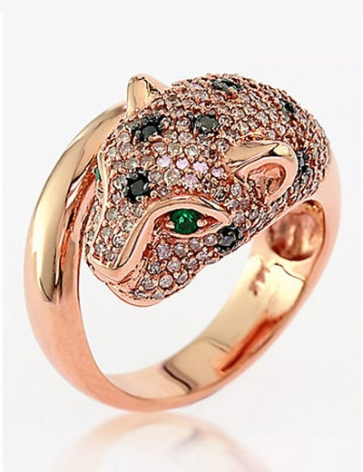 ANIMAL ATTRACTION FIND YOUR FAVORITE at ShopHQ - 180-538 EFFY Signature 14K Rose Gold 1.41ctw Diamond & Emerald Panther Ring - Size 7