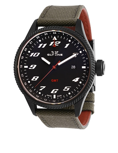 SAMPLE SALE ALL EYES ON THESE WATCHES at ShopHQ - 672-904 As Is Glycine Men's 45mm Airman Swiss Made Quartz GMT Cordura Bracelet Watch